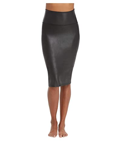 Spanx Faux Leather Pencil Skirt (Very Black) Women