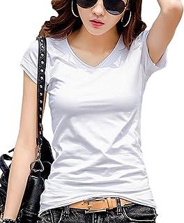 [Happy Honu(ハッピー ホヌ)] tシャツ 半袖 長袖 vネック 大きいサイズ 綿 無地 白 黒 グレー セクシー レディース