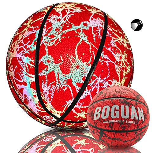 BOGUAN Holographic Reflective Glow Basektball Official Red Size 7