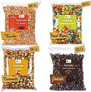 Popcorn Eğlence Paketi 2 Kg. - Çikolatalı, Karamelli, Taco Baharatlı, Meyveli Patlamış Mısır Paketi