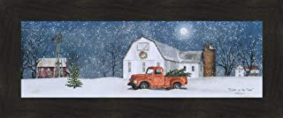Home Cabin Décor Winter On The Farm by Billy Jacobs 12x28 Christmas Trees Old Truck Barn Silo Windmill Full Moon Snow Snowing Seasons Framed Folk Art Print Picture