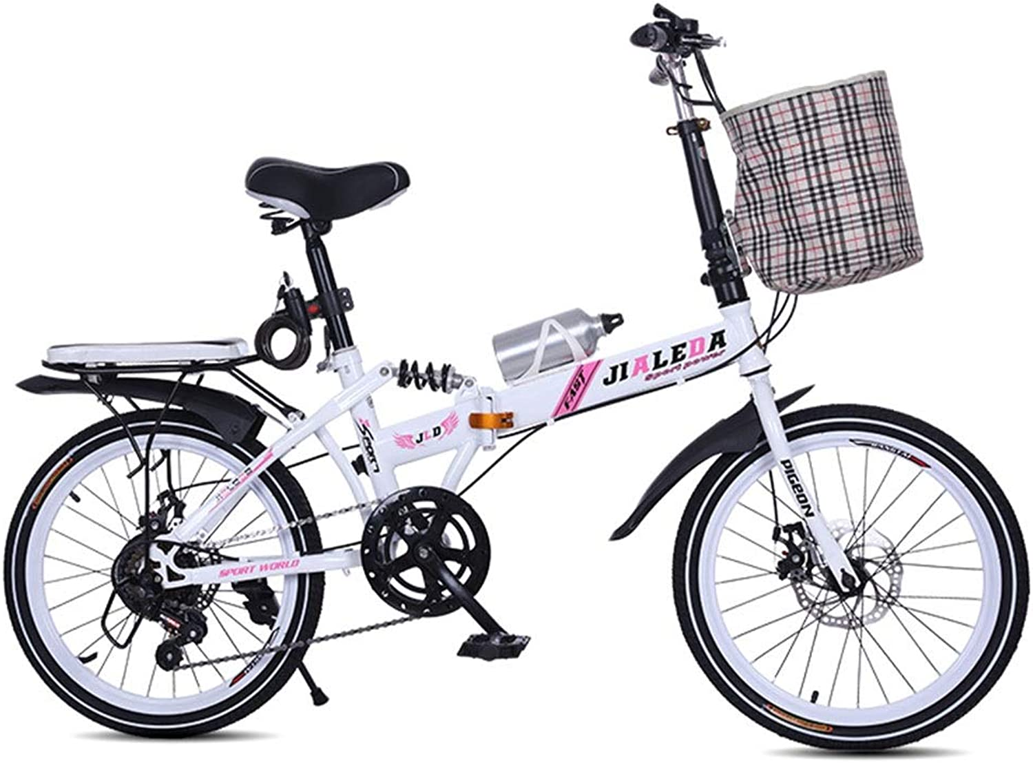 Coffee Tables Bicycle Speed Folding Bike 20 Inch Adult Students Ultra Light Portable Disc Brakes Shock Men and Women Type Mini Mountain Bike (color   Pink, Size   150  30  100cm)