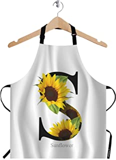 WONDERTIFY Letter S Apron,Alphabet with Sunflower White Background Bib Apron with Adjustable Neck for Men Women,Suitable for Home Kitchen Cooking Waitress Chef Grill Bistro Baking BBQ Cobbler Apron