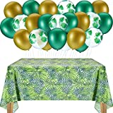 Sumind 37 Decorazioni per Feste Tropicali Include 36 Palloncini Foglia di Palma e 1 Tovaglia in Foglia di Palma Tovaglia Foglia Tropicale 54 x 108 Pollici per Compleanno Tropicale Hawaiana Luau