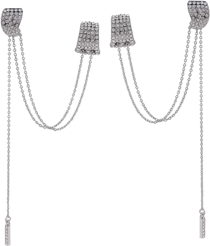 Chic Crescent Ear Cuff Crawler Earrings for Women Girls Climber Gold Tone Layered Chain Tassel Dainty Rhinestone Dangle Drop Cartilage Studs Cuffs Ears Wrap Pin Clip on Earring Jewelry