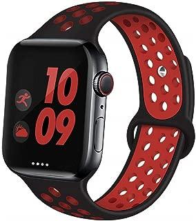 Apple Watch Band アップルウォッチ バンド Compatible Apple Watch バンド Apple Watch Series 5/4/3/2/1 (42/44mm,黒+赤)