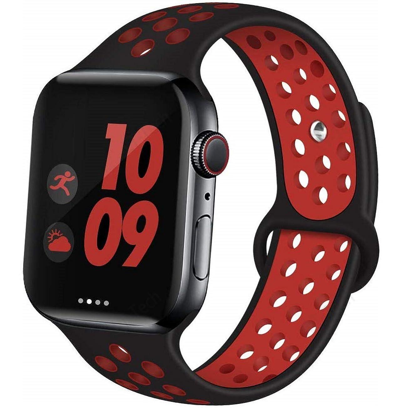 相談する適度に放射するApple Watch Band アップルウォッチ バンド Compatible Apple Watch バンド Apple Watch Series 5/4/3/2/1 (38/40mm,黒+赤)