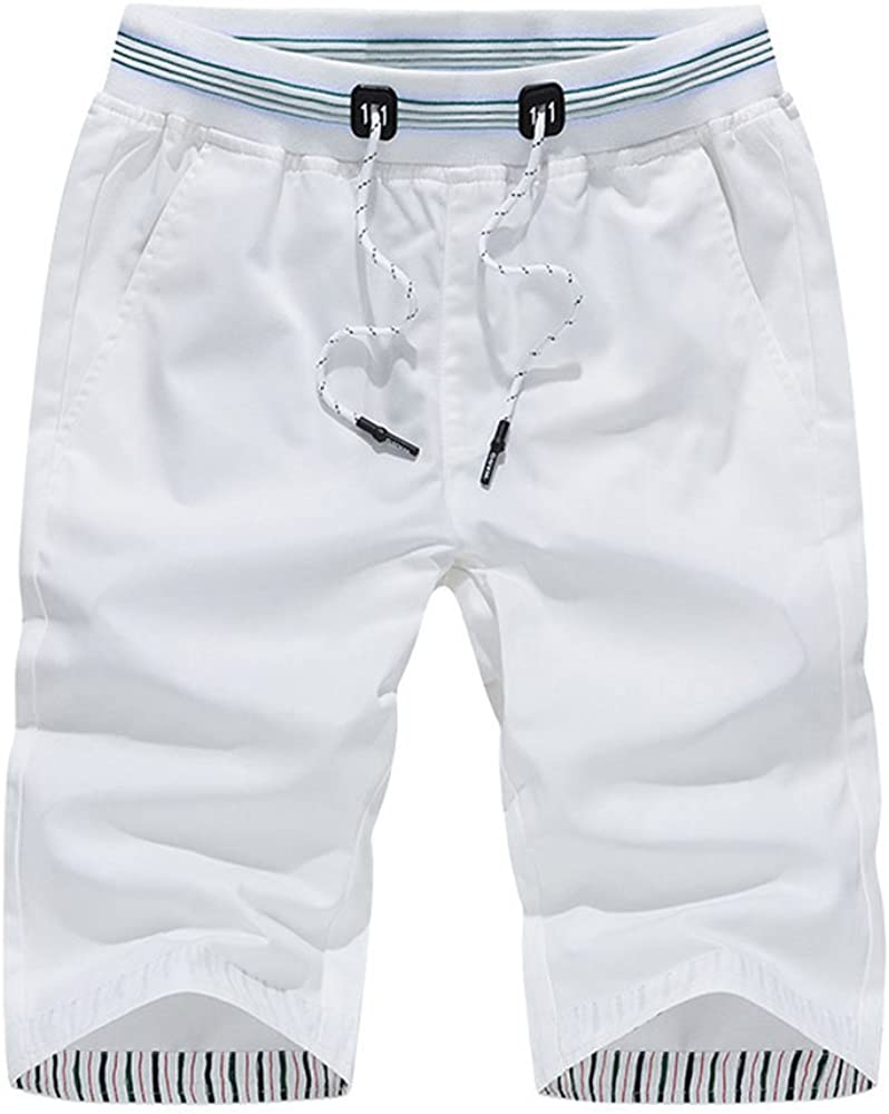 EVEDESIGN Men's Chino Alternative dealer Casual Flat Elastic Weekly update Waist Shorts Front Twi