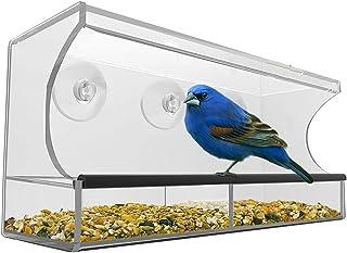 ZWWZ Soporte de Ventana Transparente,comederos de pájaros para Mascotas de Ventana Grande con Bandeja y 3 ventosas