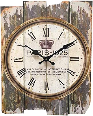 YXMxxm Vintage Wall Clock,Mute,Non Ticking,Iron Wall Clock Home Decor Shabby