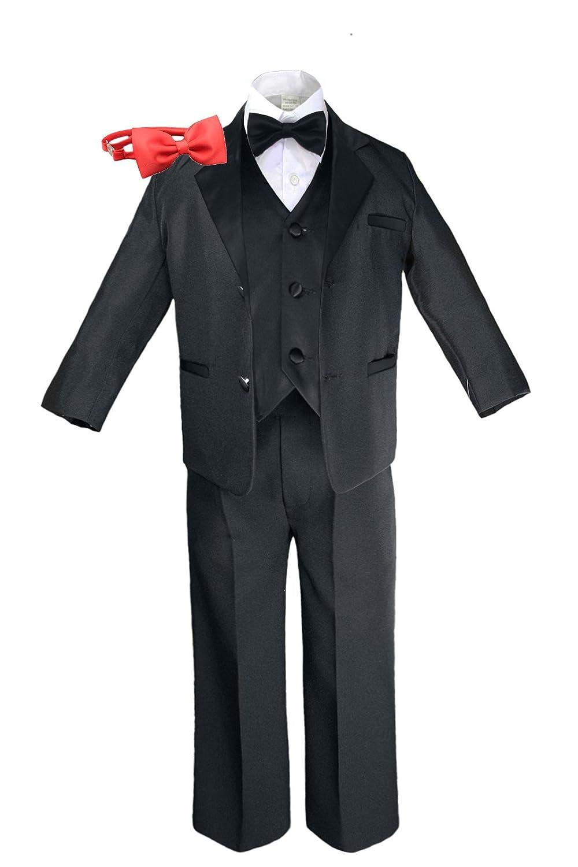 Formal Boy Black Suit Notch Lapel Satin Tuxedo Kid Baby Free Red Bow Tie (4T)