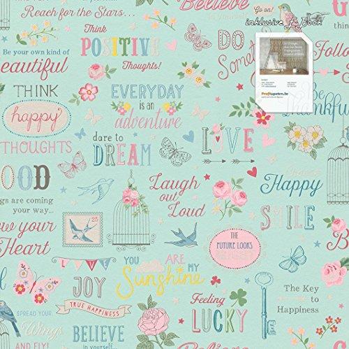 Papel Pintado colección 216714Kids & Teens II Incluye S de portatil y de cola, Teen Papel pintado, diseño & Diseños, turquesa, azul, rosa, amarillo, rosa, color blanco, Rasch