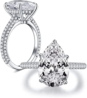 5 Carat Pear Shaped Cubic Zirconia CZ Solitaire Promise Engagement Rings