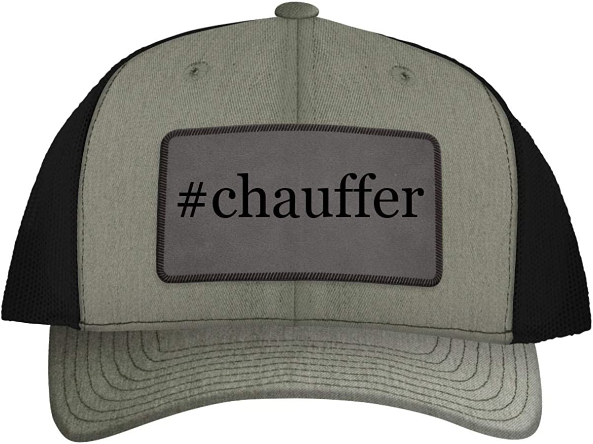 One Legging it Around #Chauffer - Leather Hashtag Grey Patch Engraved Trucker Hat
