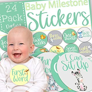 Baby Weekly & Monthly Milestone Stickers, Monthly Milestone Stickers, First Year Baby Stickers, Baby Monthly Milestone Stickers Unisex, Original Cute Designs, Gift Packed, Pack of 24 Giant Stickers