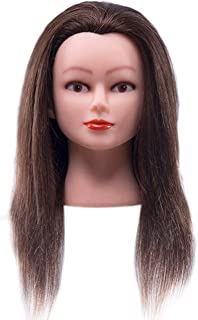 "Cosmetology Mannequin Head with 100% Real Human Hair and Adjustable Stand 22-24"" for Braiding Hair Styling Training Hairart Barber Hairdressing Fashion Salon Display"