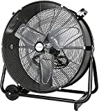 BILT HARD 24' 2-Speed High Velocity Drum Fan, 8100 CFM Heavy Duty Industrial Shop Fan for Commercial, Residential, and Garage - UL Listed