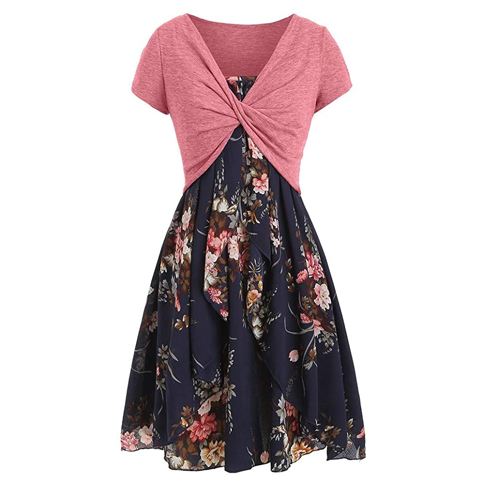 ? Hypothesis_X ? Floral Print Dresses for Women Summer Swing Dress A Line Beach Dress