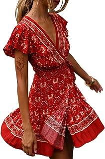 Women's Summer Mock Wrap V Neck Bohemian Floral Printed Split A Line Ruffle Hem Beach Mini Dress with Belt Plus Size