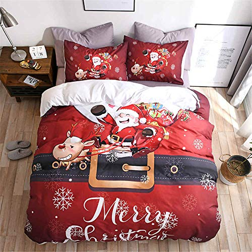 Fadaseo King Duvet Covers Set 240 X 220 Cm 3D Printing Cartoon Santa Sleigh Car 3 Pieces Bedding Set. Easy Care And Super Soft Cotton Design.With 2 Pillowcases Hypoallergenic