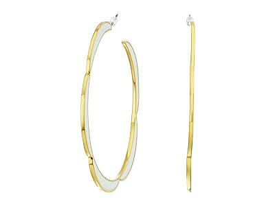 Kate Spade New York Sliced Scallops Enamel Hoops Earrings (White) Earring