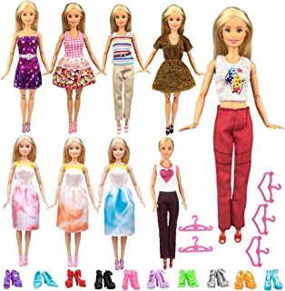Keysse Doll Clothes for Barbie 24 Items Gift Set, 9 Sets Fashion Casual Wear Clothes Outfit and 5 Hangers for 11.5