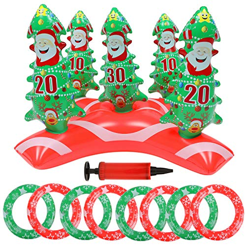 10PCS Inflatable Christmas Tree Santa Ring Toss Game Set Christmas Party Decorations Ring Toss Game with 8 Rings Gift for Kids Adults Christmas Holiday Party Supplies Family Indoor Outdoor Games