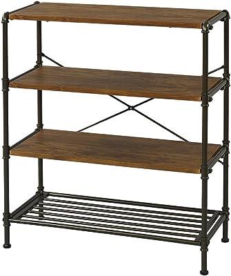 棚 ラック 書棚 4段 幅80 ビンテージ ブラウン 幅80×奥行35×高さ90.5cm IPR8090-4