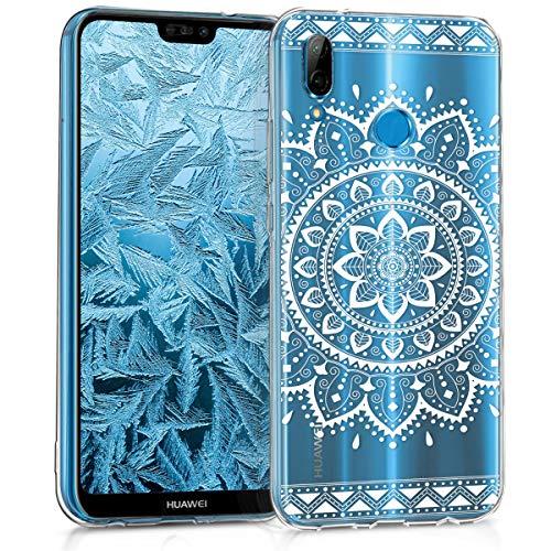 kwmobile Cover Compatibile con Huawei P20 Lite - Custodia in Silicone TPU - Backcover Protettiva Cellulare Girasole Azteco Bianco/Trasparente