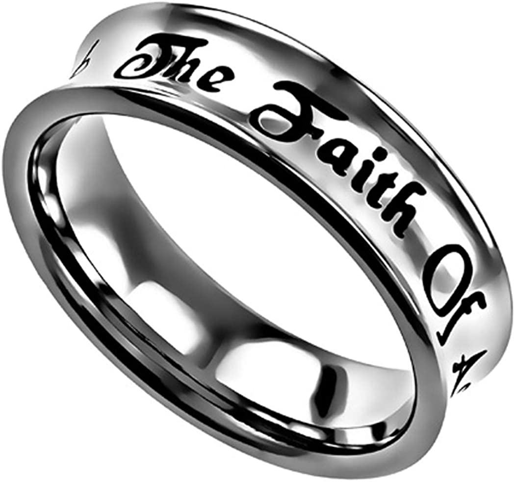 The Quiet Witness K68 Luke 17:6 Christian Scripture Ring Faith of A Mustard Seed Wedding Band Bible Jewelry