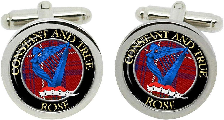Scottish Clan Surname Rose Crest Cufflinks with Gift Box
