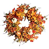 Artificial Fall Wreath,22' Autumn Wreath for Front Door with Big Pumpkins and Orange Daisy Flowers Fall Maple Leaf Wreath for Front Door and Thanksgiving Decor