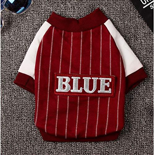 Kuailaidan huisdier honkbal pak hond val twee-benige honkbal shirt Vip Teddy dan beer hond afdrukken herfst jurk L rood