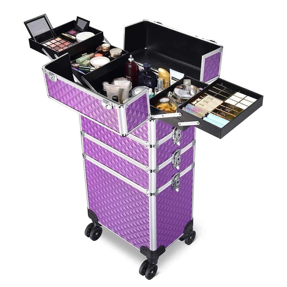 4 in 1 NEW before selling Lockable Rolling Purple Makeup Train Case Professiona for Max 52% OFF
