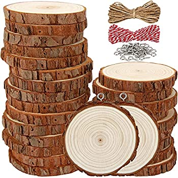 Thickened Natural Wood Slices 30Pcs 2.8 -3.1  Unfinished Wood Rounds Coasters with Screw Eye Rings for DIY Crafts Christmas Ornaments Wedding Decorations