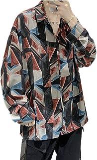 TZOU Autumn Long Sleeve Shirt Korean ins Port Style Relaxed Casual no perm Vintage Men's Flower Shirt Bag Black