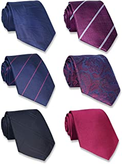 AVANTMEN Classic Neckties for Men-1&6 Pack Classy Men's Silk Ties Woven Jacquard Mens Neck Ties
