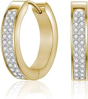 اقراط اذن ميستيج كالا بتصميم حلقي مزينة بالكرستال مطلية بالذهب للنساء ،ذهبي - MSER3102