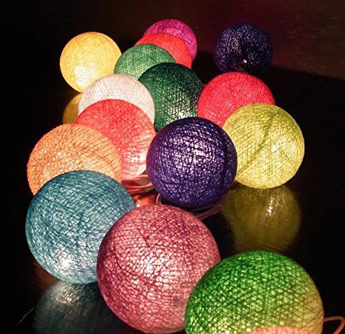 ボール型ライト イルミネーションライト Cotton Ball Light 20/セット 室内装飾 クリスマス パーティー ハンドメイド 古典的 ランプ  綿 コットン ボール 電球 ストリング ライト ミックス カラー