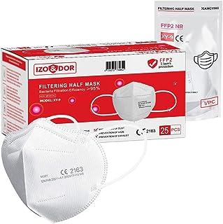 Masker 25x FFP2 NR Gecertificeerd volgens CE Norm EN149 - Wegwerpmasker voor ademhalingsbescherming - Hoge filterefficiënt...