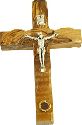 Olive wood Cross/Crucifix with sample from the Holy Land (5 Inches)