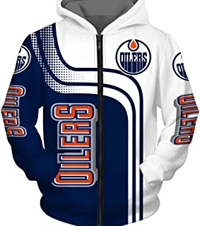 Teens Gift Grey-S NHL Edmonton Oilers Training Pullover Fan Jersey Zip Sweatshirt Long Sleeve Baseball Uniform COZY LS Unisex Hockey Hoodie Jacket