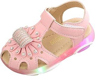 Sandalias para Bebé Niñas ?? Riou Zapatos de la Zapatilla de Deporte de Las Sandalias del Deporte de la luz led de la Flor del Cristal Fondo Suave Lindo niños Playa Sandalias