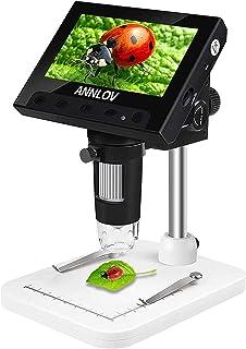 Annlov 10,9 cm Münzmikroskop, 50 fache Vergrößerung, digitales LCD Digital Mikroskop mit 8 verstellbaren LED Lichtern für Kinder und Erwachsene, für Münzen, Briefmarken, Pflanzen, Löten