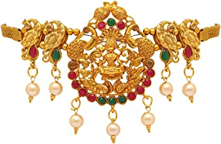 Jaipur Mart Preyans Golden Brass Alloy Metal Glass Stone Bajuband Armlet Jewellery for Women