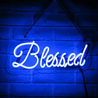 Neon Signs Blessed Neon Light Handmade Glass 3D Visual Effect Decorative Sign 15 x 4 Inch Plug-in Novelty Night Light for Home Bedroom Living Room Office Wall Church Ball Party Decor Love Gift Blue
