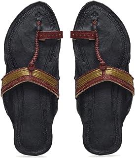 KALAPURI� Ladies Kolhapuri Chappal in Genuine Leather with Black Pointed Shape Base and Brown Jari Lace Colour Upper. Hand...