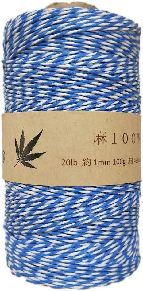 100/% Hemp Fiber Twine-1mm-100g-430feet Blue