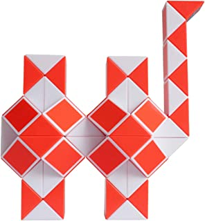 Mipartebo Magic Snake Cube Twist Puzzles 72 Wedges Brain Teaser Toys White and Orange