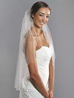 Barogirl Wedding Veil White with Rhinestones 1 Tier Beaded Edge Bridal Veil Fingertip Length with Comb for Brides (White)